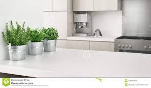 Modern White Kitchen Interior 3d Rendering Stockfoto Und Modern White Kitchen With Aromatic Plants 3d Render