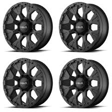 100 Helo Truck Wheels Set 4 16 HE878 Black 16x9 8x65 12mm Lifted Chevy GMC