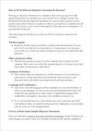 Sample Job Objectives Resume Objective In For Career Change Good
