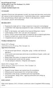 Electrician Resumes Samples Apprentice Resume Electrical
