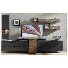 wohnzimmer wohnwand madeira 36 inkl led beleuchtung in graphit und ha