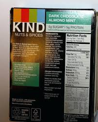 Kind Bars Ingredients Dark Chocolate Almond Mint Nuts Spices Bar Label