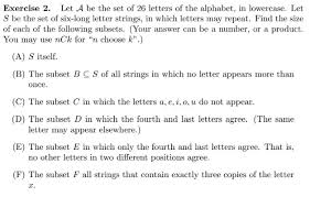 Exercise 2 Let A Be The Set 26 Letters The