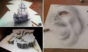 Amazing 3D Sketches That Look As If Objects Are Flying Sailing Or Crawling Off The Paper