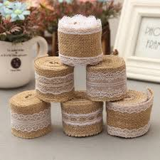 2M Vintage Wedding Decoration Rustic Natural Jute Burlap Hessian Ribbon Lace Trims Tape Cake Topper