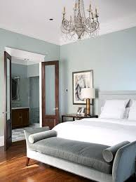 grey and blue bedroom