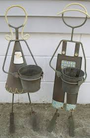 Worn Metal Plant Stand Girl Boy Flower Pot Holder