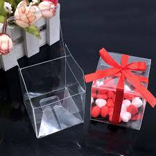 Square PVC Birthday Gift Box Transparent Wedding Favor Holder