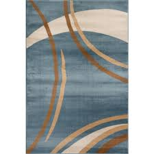 World Rug Gallery Contemporary Modern Wavy Circles Blue 3 ft 3 in