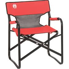 Coleman Oversized Padded Quad Chair Side Cooler by Amazon Com Coleman Steel Deck Chair With Mesh Back Panel Desk