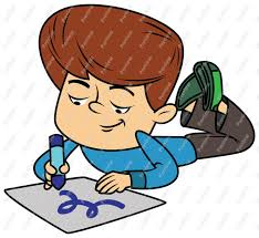 Boy Child Drawing And Coloring Clip Art