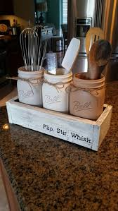 Nice Mason Jar Table Decor Kitchen Rustic Utensil Holder
