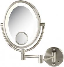 jerdon lighted 10x 1x oval wall mount lighted makeup mirror with