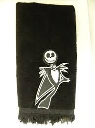 Nightmare Before Christmas Bathroom Decor by Amazon Com Jack Skellington Hand Towel Black Vintage Applique