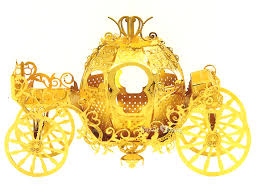 3D Metal Puzzles Pumpkin Carriage Gold Asset