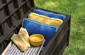 Suncast Resin Deck Box 50 Gallon by 50 Gallon Deck Box With Seat Suncast Corporation