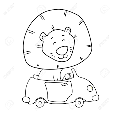 Cute Cartoon Lion Driving A Car Coloring Page For Kids Stock Vector