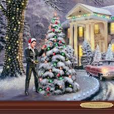 Thomas Kinkade Christmas Tree Uk by Elvis U0027christmas At Graceland U0027 Kinkade Illuminated Print By The