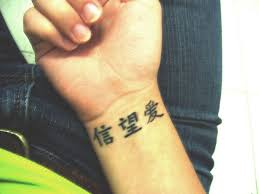 Chinese Letters Tattoos On Wrist