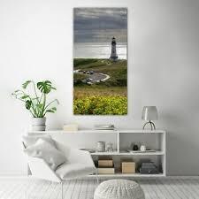 details zu wandbilder glasbilder wohnzimmer 70x140 leuchtturm und bucht seelandschafts