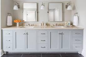 Grey Double Vanity Transitional bathroom Benjamin Moore