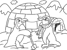 Plush Design Winter Coloring Pages For Preschool Penguins Igloo Page