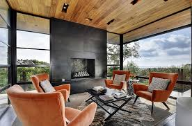 Contemporary Sunroom Furniture For Room Black Fireplace And Wooden Roof The Spacious
