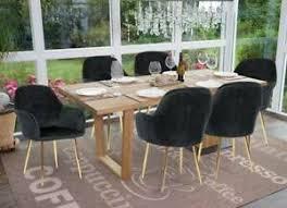 details zu 6x esszimmerstuhl hwc f18 stuhl küchenstuhl samt schwarz goldene beine
