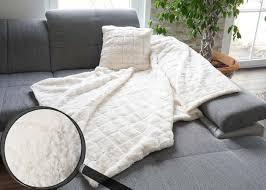 set wohndecke deko kissen karo kuscheldecke sofadecke zierkissen füllung flauschig fellimitat