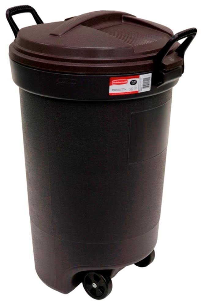 United Solutions Rubbermaid Wheeled Round Trash Can - Black, 32 Gallon