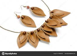 Original Handicraft Necklace Earrings Form Petals Made Brown Leather Stock Photo