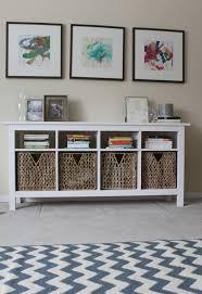 use hemnes sofa table as media center below wall mounted flat