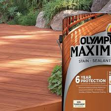 Longest Lasting Deck Stain 2017 by Olympic Maximum Stain Sealant In One Solid Color