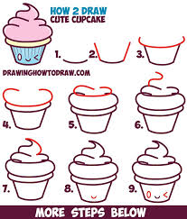 How to Draw Cute Kawaii Cupcake with Face on It Easy Step by Step Drawing