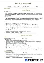 Bookkeeper Resume Examples From 50 Unique Sample For Junior Accountant Template Free