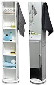 drehbares schrankregal fürs badezimmer 6 fächer spiegel 2 handtuchhaken farbe weiß
