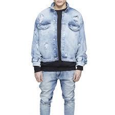 Mens Oversized Distressed Denim Jackets Streetwear Kanyye West Light Blue Jacket Hip Hop Men Autumn Coat