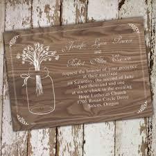Cheap Rustic Mason Jars Wood Wedding Invitations EWI245