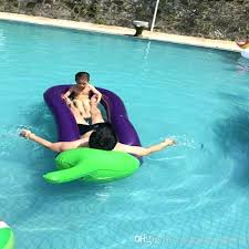 Inflatable Pool Float Giant Eggplant Raft Lounger Lounge Chair With Hand Pump For Adult Modest Swimming Deck Chairs P4623425