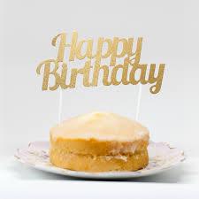 Happy Birthday Cake Topper Gold Birthday Cake Decoration Uk