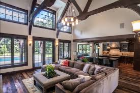 Microfiber Couch Living Room Rustic With Dark Wood Beams Trusses Gray Sectional Sofa