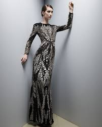 jenny packham long sleeve bead embroidered gown in black lyst