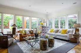 Rustic Eclectic Decor Living Room Beach Style With White And Yellow Colour Scheme Contemporary Accent Cushions