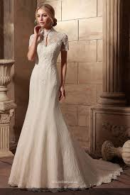 Vintage Lace Short Sleeves High Neck Mermaid Wedding Dresses