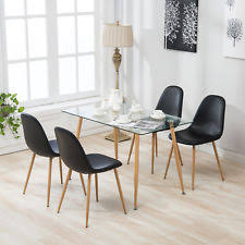 Mecor 5Pcs Dining Table Set 4 Eames Chairs Glass Metal Kitchen Room Furniture