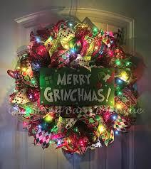The Grinch Christmas Tree Skirt by Christmas Wreath Light Up Christmas Wreath Grinch Wreath Merry