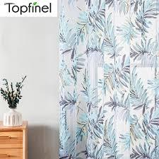topfinel blau tropical blätter drucken sheer vorhänge für wohnzimmer fenster vorhang schlafzimmer küche tüll vorhänge raumteiler
