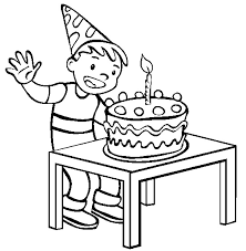 Detail happy birthday cake with single candle coloring page