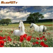 ruopoty öl malen nach zahlen kits für erwachsene kinder pferd in blume feld tier bild durch nummer hause wohnzimmer decor phot