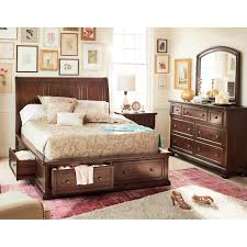 Value City Furniture Leather Headboard by Hanover 5 Piece Queen Storage Bedroom Cherry Value City Furniture